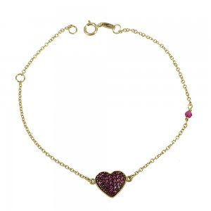 Bracelet  Heart Yellow gold K14 with semiprecious stones Code 003892