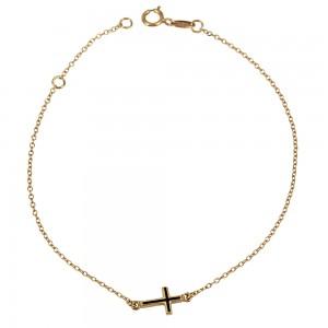 Bracelet Cross motif Pink gold K14 Code 003897
