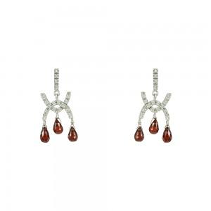 Earrings White gold K14 Garnet Code 004215