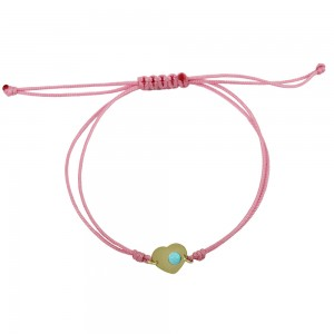 Bracelet for baby girl Heart shape Yellow gold K14 with turquoise Code 004226