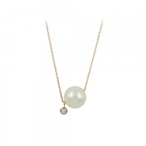 Necklace Pink gold  K14 with pearl and diamond Code 004239