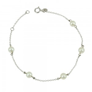 Bracelet White gold K14 with pearls Code 004723