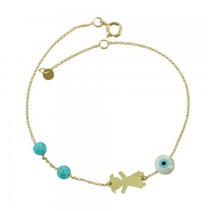 Bracelet for baby girl Yellow gold K14 with eye motif Code 005176