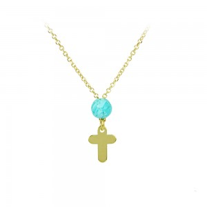 Cross with chain Yellow gold K14 with Turquoise Code 005184