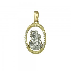Christian pendant Yellow and white gold K14 with semiprecious crystals Code 005345