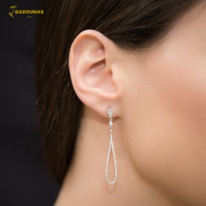 Earrings White gold K14 with semiprecious stones Code 005360