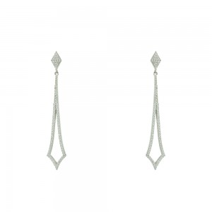 Earrings White gold K14 with semiprecious stones Code 005361