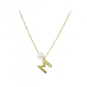 Necklace Monogram Yellow gold K14 with pearl Code 005400