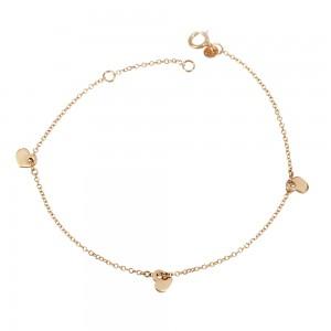 Bracelet Hearts shape Pink gold K14 Code 005588