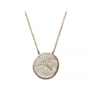 Necklace  Sunset and Sunrise Double side Pink gold K14 with diamond and mother of pearl Code 006064