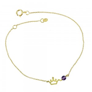 Bracelet Crown Yellow gold K14 with Amethyst Code 006368