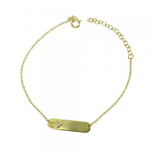 Bracelet for baby Heart Yellow gold K14 with brilliant cut Diamonds Code 006370