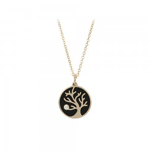 Necklace Tree of Life Pink gold K14 with ceramic and diamond Code 006393