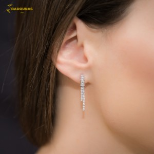 Earrings White gold K14 with semiprecious stones Code 006515