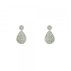 Earrings White gold K14 with semiprecious stones Code 006679