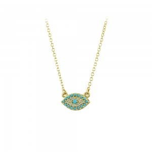Necklace Yellow gold K14 with semiprecious stones Code 007272