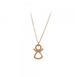 Necklace Girl shape Pink gold K14 with diamond Code 007287