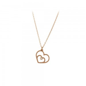 Necklace Pink gold  K14 with diamond Code 007289