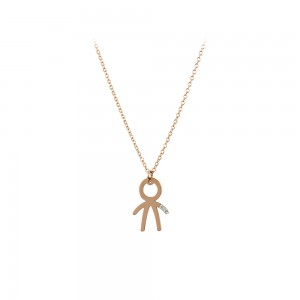 Necklace Boy shape Pink gold K14 with diamond Code 007291