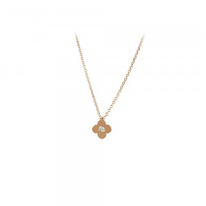 Necklace Pink gold K14 with diamond Code 007292