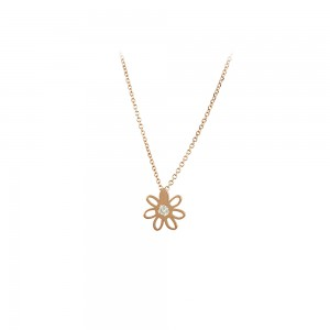 Necklace Flower Pink gold K14 with diamond Code 007293
