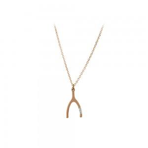Necklace Horseshoe Pink gold K14 with diamond Code 007294