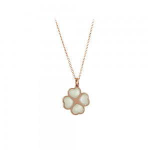 Necklace Hearts shape Pink gold K14 with diamonds and mother of pearl Code 007295