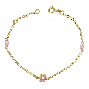 Bracelet Flower motif  Yellow gold K9 Code 007328