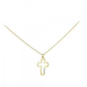 Cross with chain Yellow gold K14 and diamond Code 007561