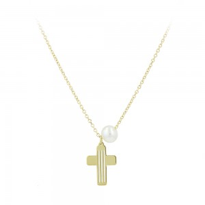 Cross with chain Yellow gold K14 and pearl Code 007564