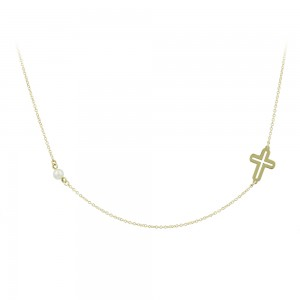 Cross with chain Yellow gold K14 and pearl Code 007565