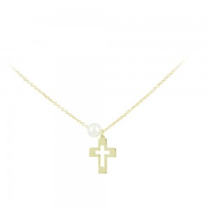 Cross with chain Yellow gold K14 and pearl Code 007566