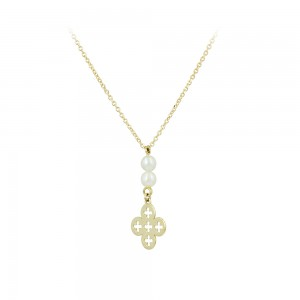 Cross with chain Yellow gold K14 and pearls Code 007567