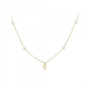 Cross with chain Yellow gold K14 and pearls Code 007569