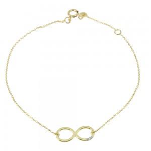 Bracelet InfinityYellow gold  K14 with diamonds Code 007578