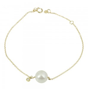 Bracelet  Yellow gold K14 with diamond and pearl Code 007579