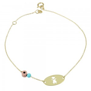 Bracelet Yellow gold K14 with turquoise Code 007581