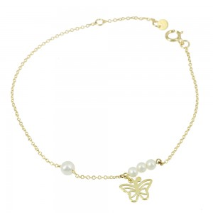 Bracelet Butterfly Yellow gold K14 with diamonds Code 007585