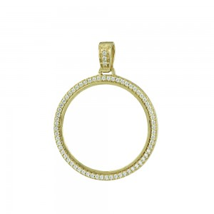 Pound case Yellow gold K14 with semiprecious crystals Code 007967