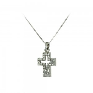 Cross with chain, white gold K14 Code 007979