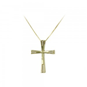 Woman's cross pendant  with chain, Yellow gold K14 with semiprecious crystals Code 007984