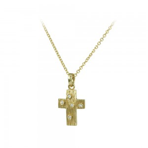 Woman's cross pendant  with chain, Yellow gold K14 with semiprecious crystals Code 007986