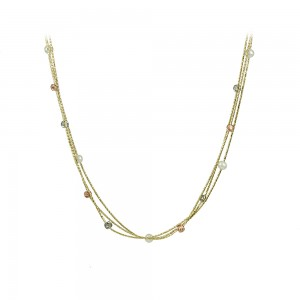 Necklace Yellow, pink and white gold  K14 with pearls Code 007989