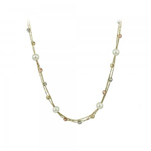 Necklace Yellow, pink and white gold K14 with pearls Code 007990