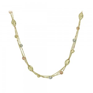 Necklace Yellow, pink and white gold  K14 Code 007991