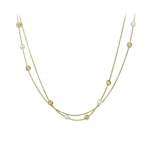 Necklace Yellow gold K14 with pearls Code 007992