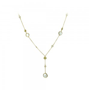 Necklace Yellow gold K14 with mother of pearl and semiprecious crystals Code 007993
