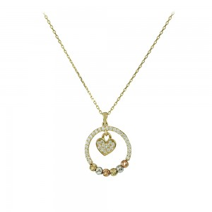 Necklace Heart shape Yellow,pink and white gold K14 with semi-precious crystals Code 007994