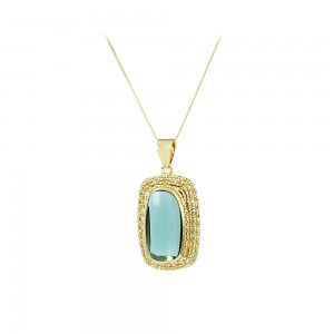 Necklace Yellow gold K14 London blue Topaz Code 007996