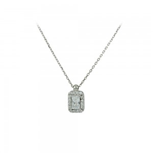 Necklace White gold K14 with semiprecious stones Code 007998